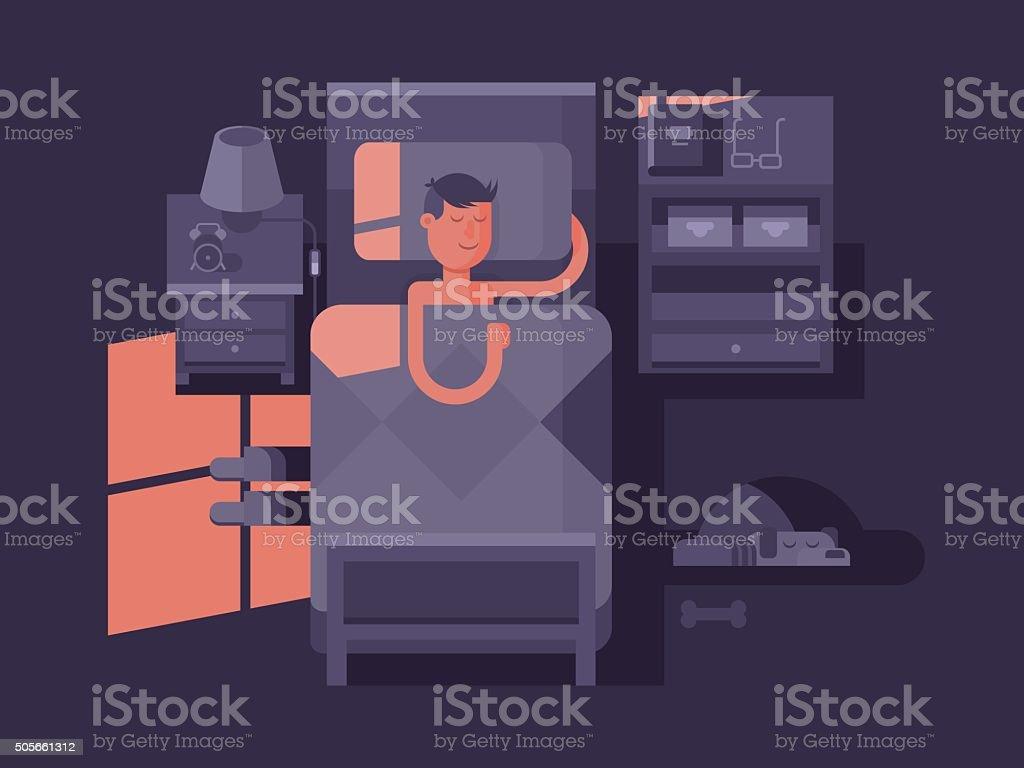 Man sleep in bed vector art illustration