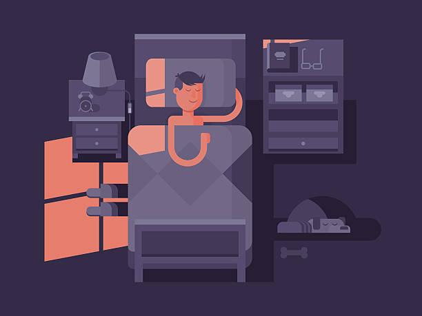 ilustraciones, imágenes clip art, dibujos animados e iconos de stock de hombre de descanso reparador en la cama - man sleeping