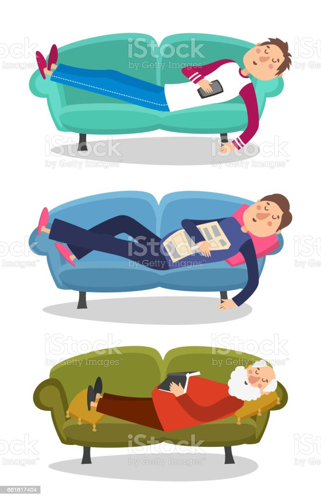 Man sleep on sofa vector illustration. Sleeping young and old men  couch character person vector art illustration