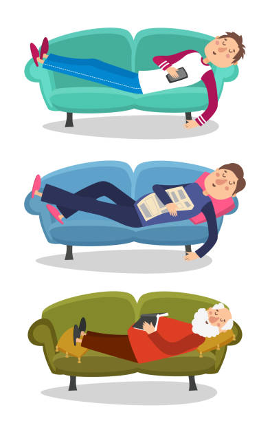 man sleep on sofa vector illustration. sleeping young and old men  couch character person - old man sleeping silhouettes stock illustrations, clip art, cartoons, & icons