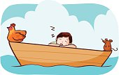man sleep on the boat with hen and rat vector illustration