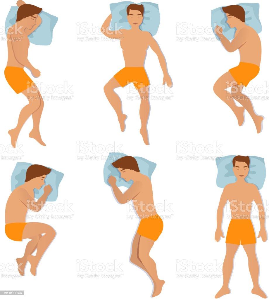 Man sleep positioning isolated on white background. Different sleeping poses vector illustration vector art illustration