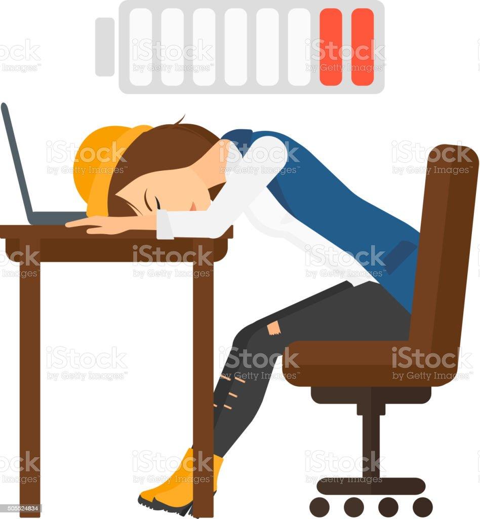 mann schlafen am arbeitsplatz stock vektor art und mehr bilder von aufladen 505524834 istock. Black Bedroom Furniture Sets. Home Design Ideas