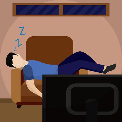 Man sleeping in the living room