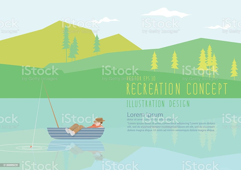 Man sleeping on a fishing boat in nature flat vector. vector art illustration