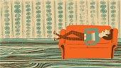 Vector illustration of hand drawn man sleeping on the sofa