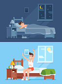 Man sleeping under duvet at night, waking up morning and getting out of bed. Peacefully sleep in comfy bedding cartoon vector concept