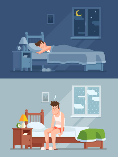 illustrazioni stock, clip art, cartoni animati e icone di tendenza di man sleeping under duvet at night, waking up morning with bed hair and feeling sleepy. sleep disorder cartoon vector concept - uomo stanco
