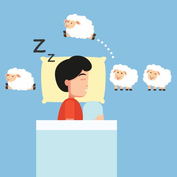 Man sleeping,Counting sheep to fall asleep Man sleeping,Counting sheep to fall asleep vector illustration. counting stock illustrations