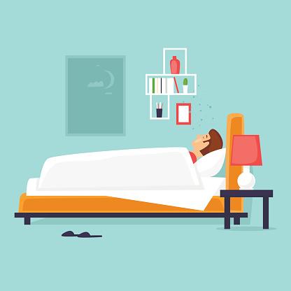 Man sleeps in bed at night. Flat design vector illustration.