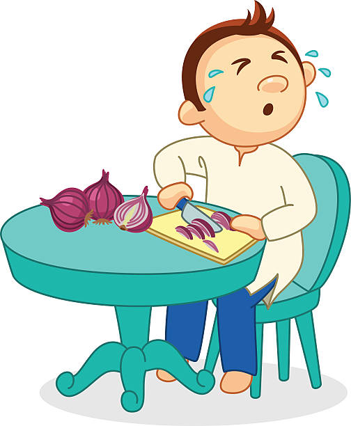 illustrazioni stock, clip art, cartoni animati e icone di tendenza di man slicing onion and crying - chef triste