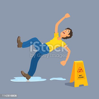 Boy in casual clothes slipped, waving his hands. Dangerous situation.