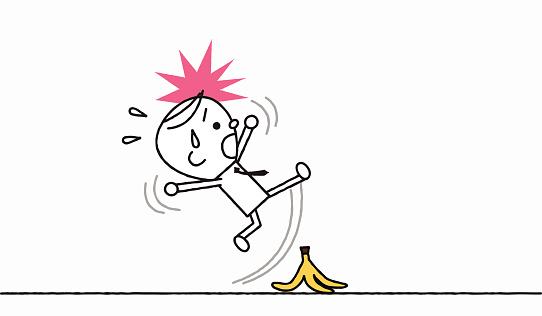 Man slipping on a banana skin