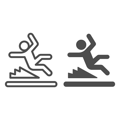 Man slipping on wet floor line and solid icon, waterpark concept, Wet floor sign on white background, Falling person silhouette icon in outline style for mobile concept, web design. Vector graphics.