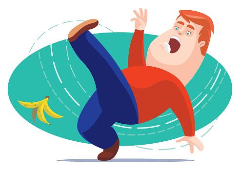 man slipping with banana peel