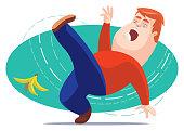 vector illustration of man slipping with banana peel
