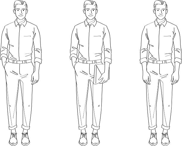 man smart casual line drawing illustration - preppy fashion stock illustrations, clip art, cartoons, & icons