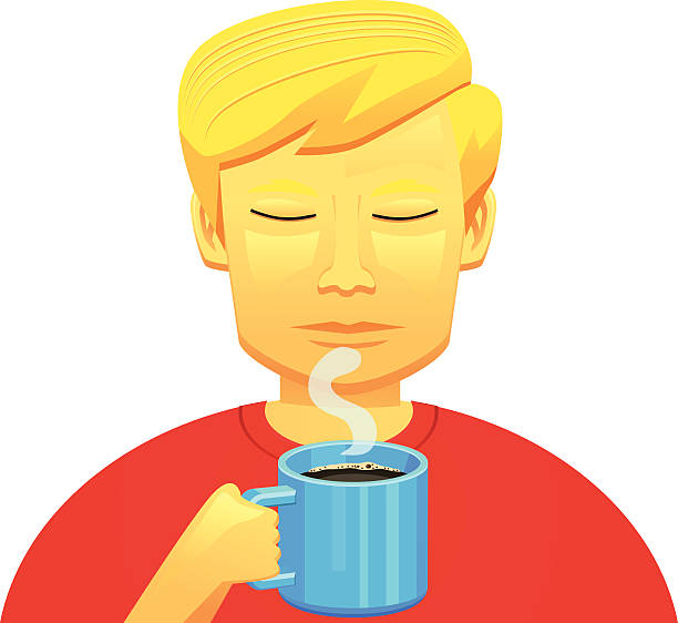 man smelling a mug of coffee - old man pic cartoons stock illustrations, clip art, cartoons, & icons