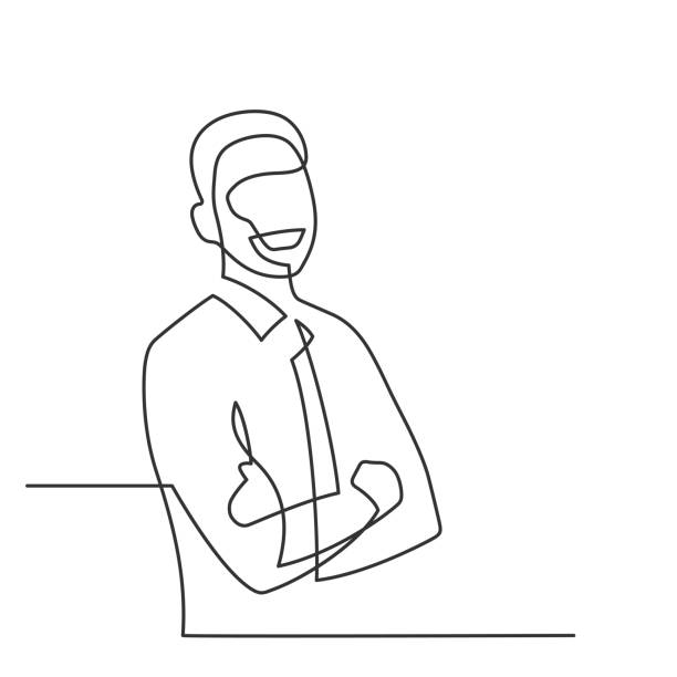 man smiling one line Smiling man - continuous line drawing. Businessman with crossed arms on white background. Vector illustration business drawings stock illustrations