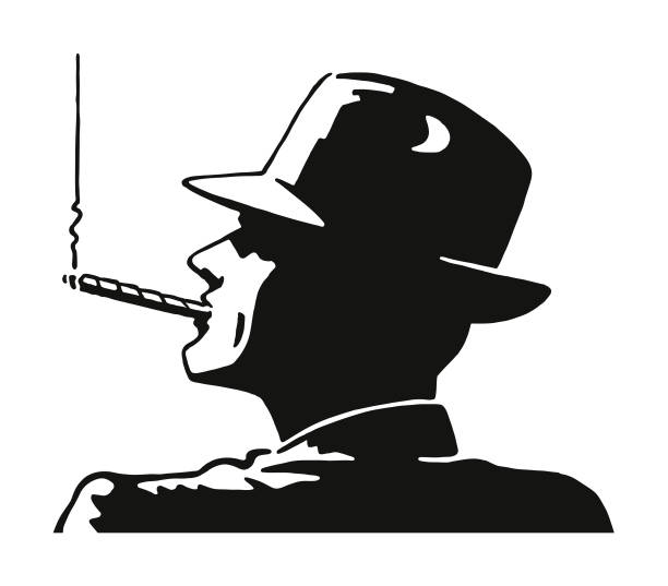 stockillustraties, clipart, cartoons en iconen met man een sigaar roken - guy with cigar