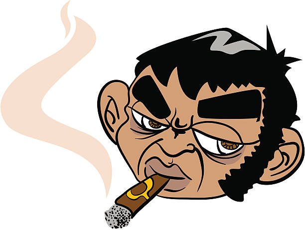 man smoking a cigar - old man smoking cigar stock illustrations, clip art, cartoons, & icons