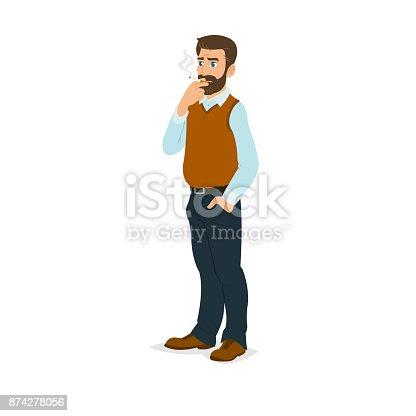 istock man smoking a cigarette. 874278056