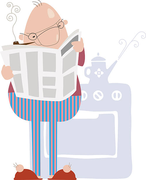 man smoking a pipe and reading a newspaper - old man pajamas stock illustrations, clip art, cartoons, & icons