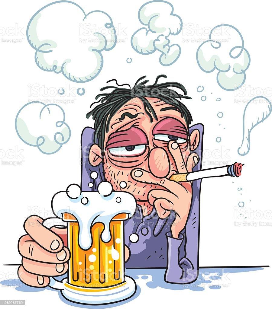 man smoking and drinking beer royalty-free man smoking and drinking beer stock vector art & more images of addiction