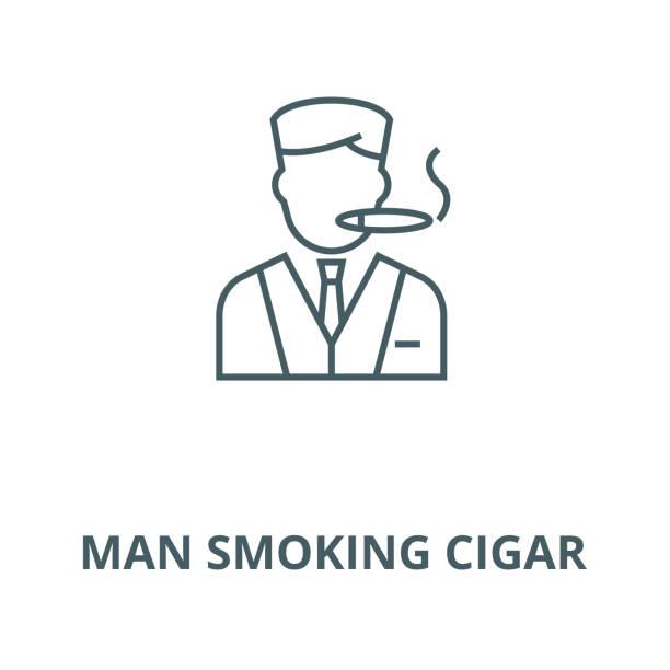 man smoking cigar vector line icon, linear concept, outline sign, symbol - old man smoking cigar stock illustrations, clip art, cartoons, & icons
