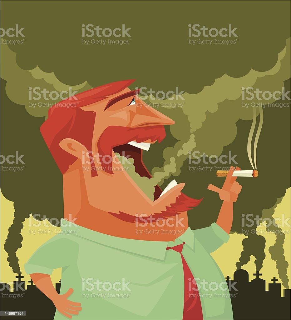 man smoking vector art illustration