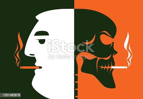 istock man smoking with skull silhouette 1251492679
