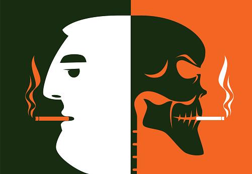 man smoking with skull silhouette