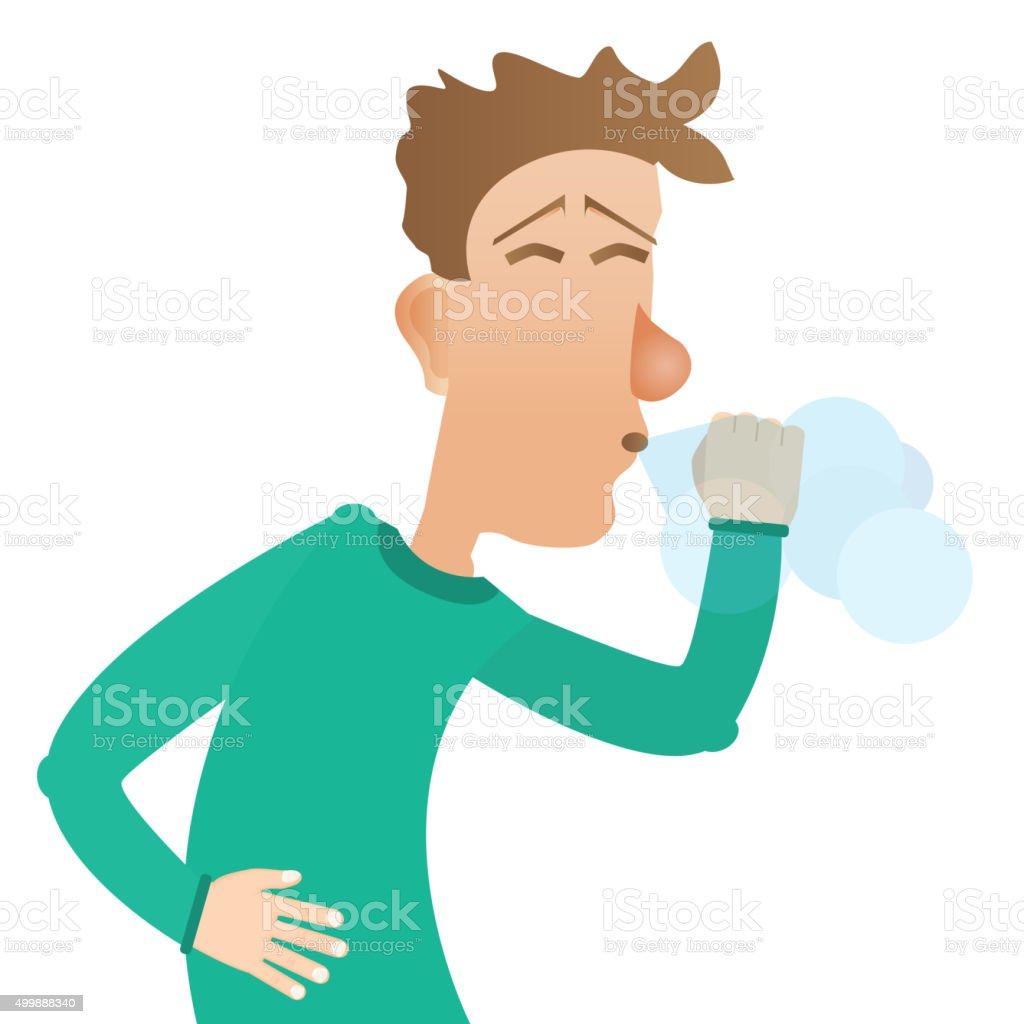 man sneezes vector art illustration