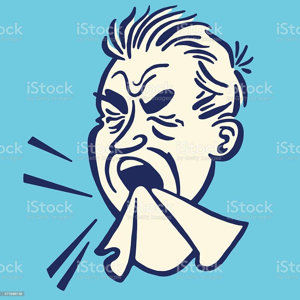 Man Sneezing vector art illustration