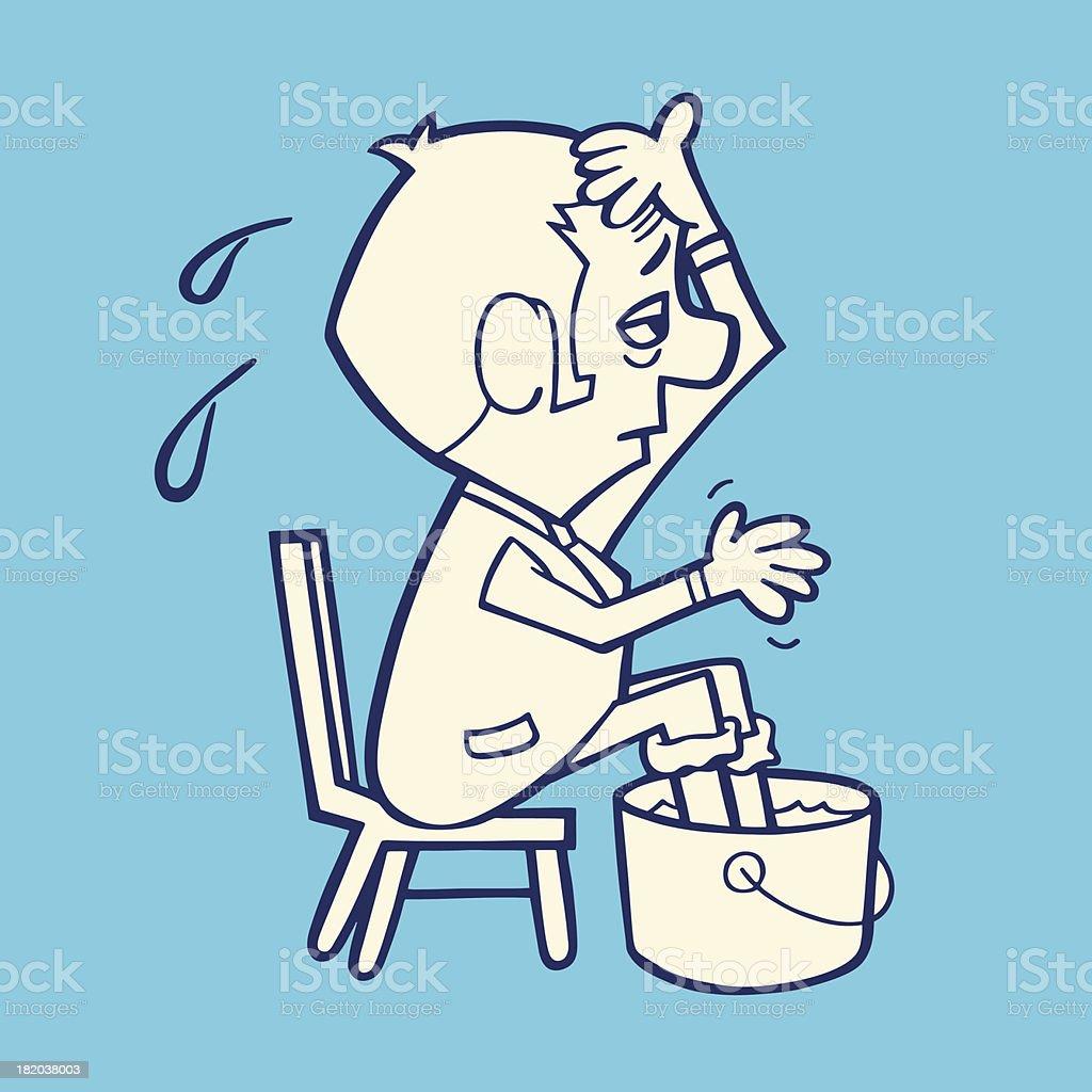 Man Soaking His Feet in a Bucket vector art illustration