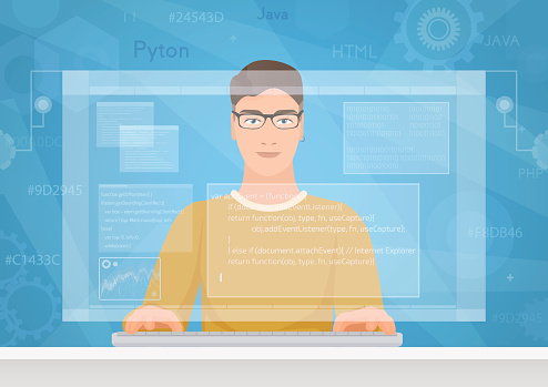 Man Software Engineer Concept With Design Optimization Responsive And Developer Solutions Coder Engineer Working With Programm Code On Virtual Screen Stock Illustration Download Image Now Istock