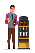 Man sommelier, salesman or restaurant waiter presenting wine bottle. Male character standing on white. Shelves rack with different alcoholic drinks. Presentation beverage. Vector illustration