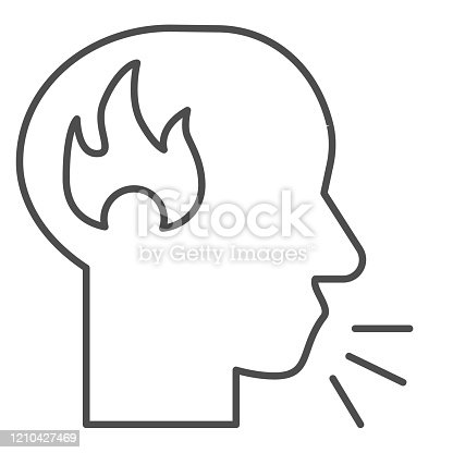 Man speak loud thin line icon. Angry person, shouting head with fire symbol, outline style pictogram on white background. Relationship sign for mobile concept and web design. Vector graphics