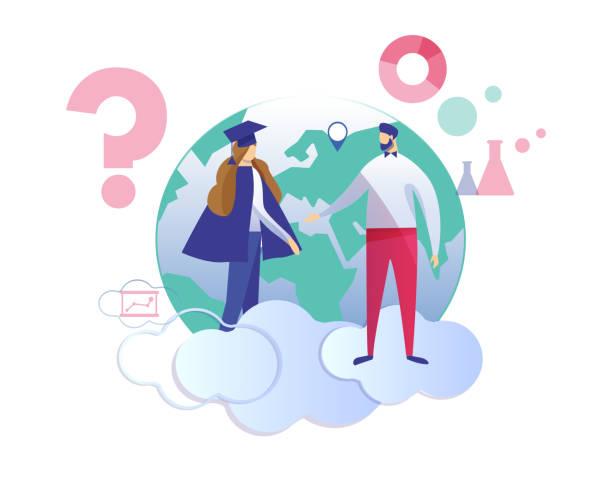 ilustrações de stock, clip art, desenhos animados e ícones de man speaking with graduated girl dressed in mantle - teacher school solo