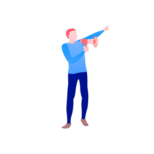 Ein Mann spricht in einen Schrei oder ein Megaphon. Die Ankündigung einer guten Nachricht. – Vektorgrafik