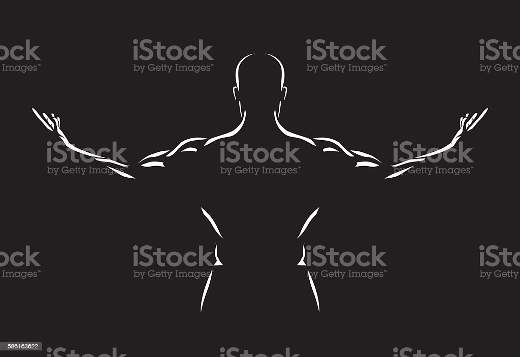 Man spreading out arms for show back muscles vector art illustration