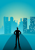 Business concept illustration of a man standing on the street looking at the skyscrapers
