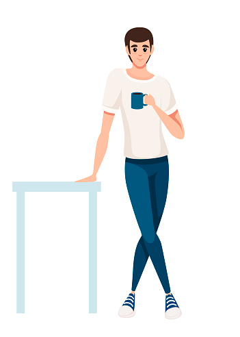 Man stand at the table and hold blue tea cup. Man in white t-shirt and blue pants. Cartoon character design. Flat vector illustration isolated on white background