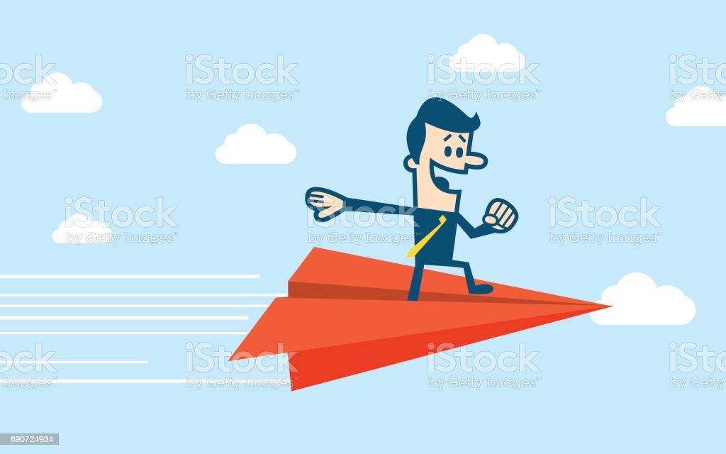 男は紙飛行機の上に立つ ベクターアートイラスト