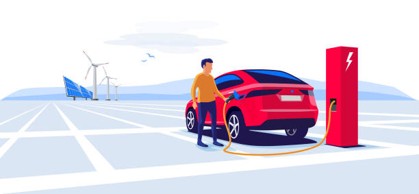 Man Standing and Charging an Electric Car Suv Modern electric suv car charging at the charger station with a young man holding the cable. Wind turbines and solar panels in background. Electromobility e-motion flat vector illustration concept. hybrid car stock illustrations