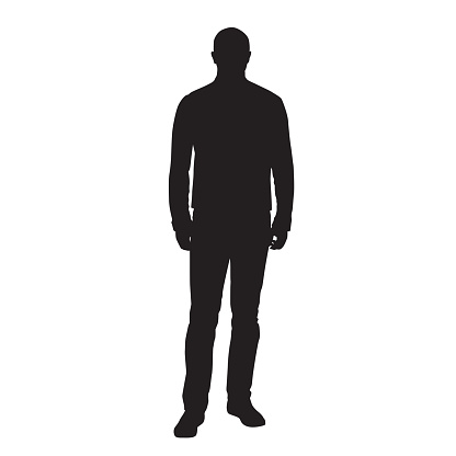 Man standing and waiting, front view, vector silhouette