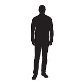 istock Man standing and waiting, front view, vector silhouette 1300502656