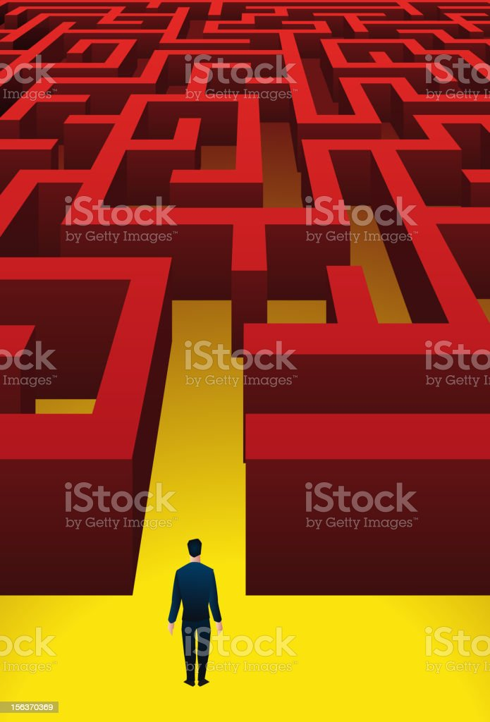 Man standing before a labyrinth vector art illustration