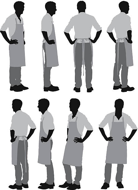 Man standing in apron Man standing in apronhttp://www.twodozendesign.info/i/1.png apron isolated stock illustrations