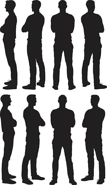 illustrazioni stock, clip art, cartoni animati e icone di tendenza di uomo in piedi in vari vista - ritratto 360 gradi